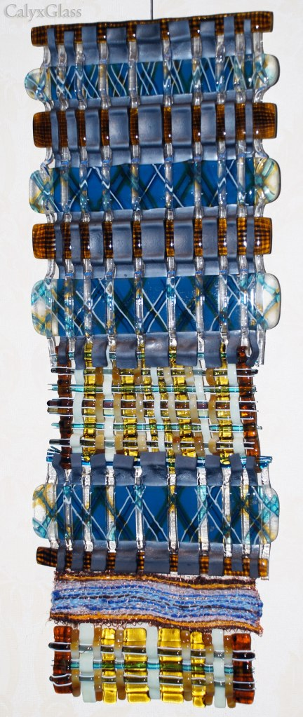 woven fused glass with fiber and copper wire