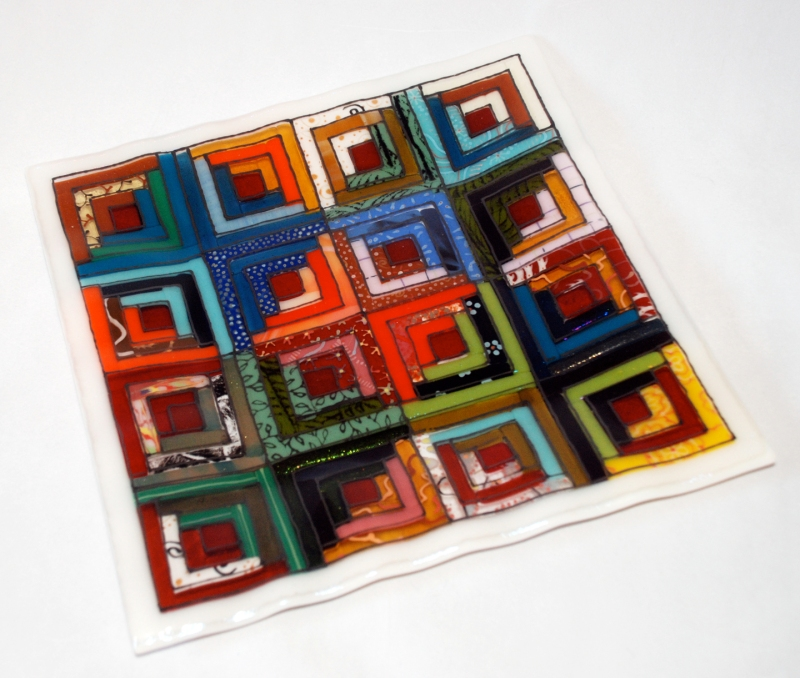 fused glass log cabin quilt