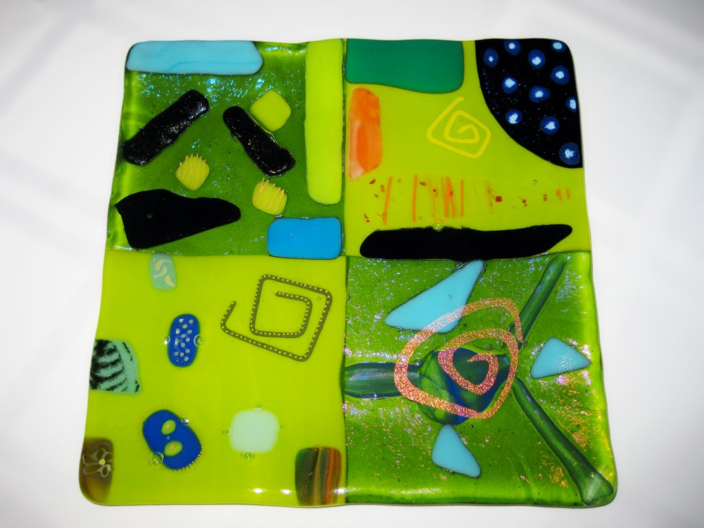 Green Fused Glass Plate