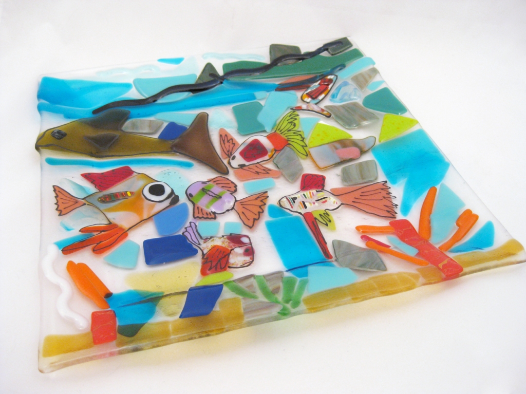 Fused Glass Fish Dish