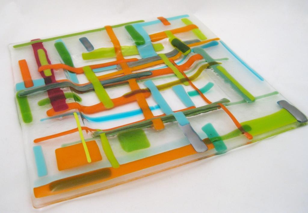 Plaid Fused Glass Plate