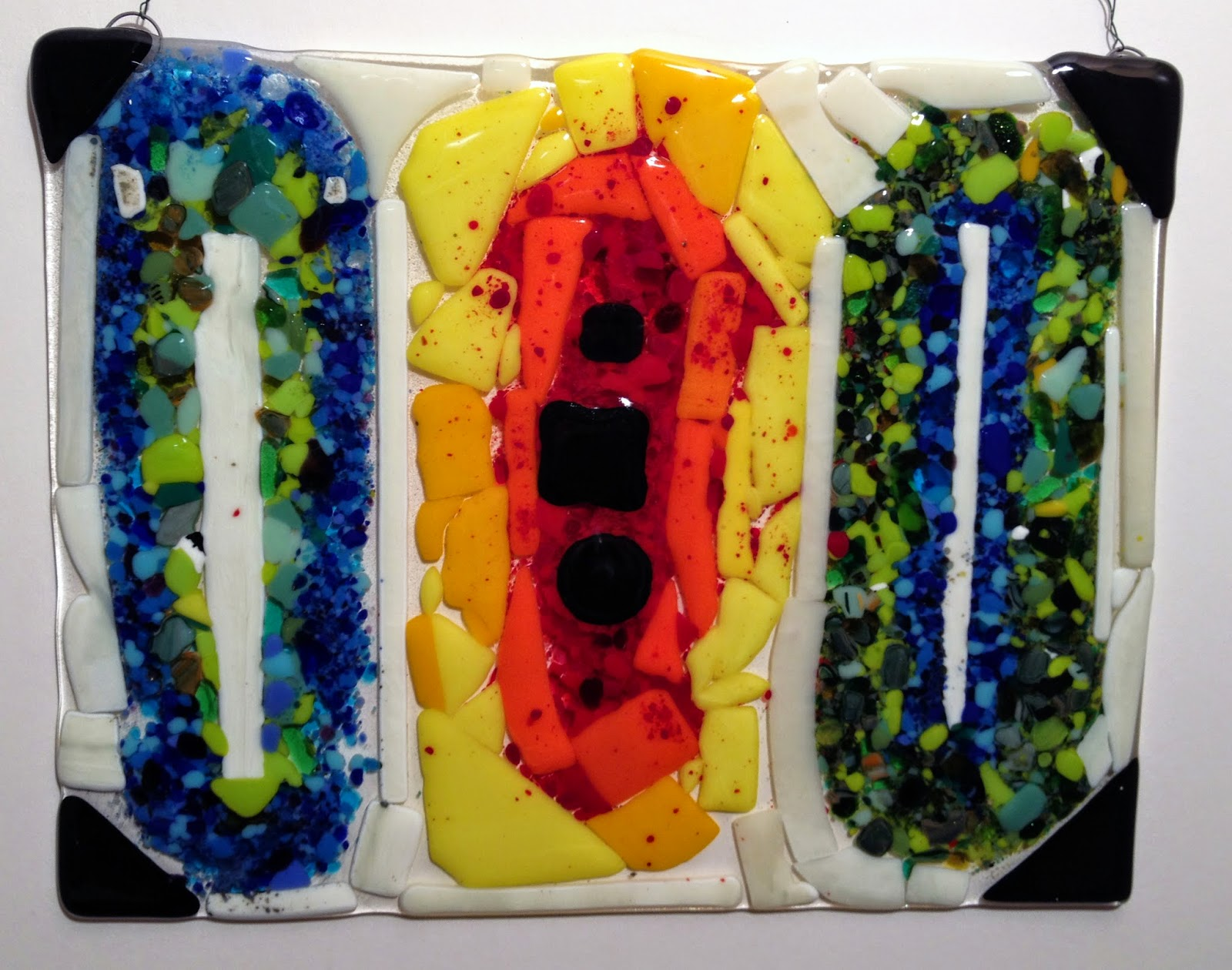 Fused Glass Window in the style of Kandinsky
