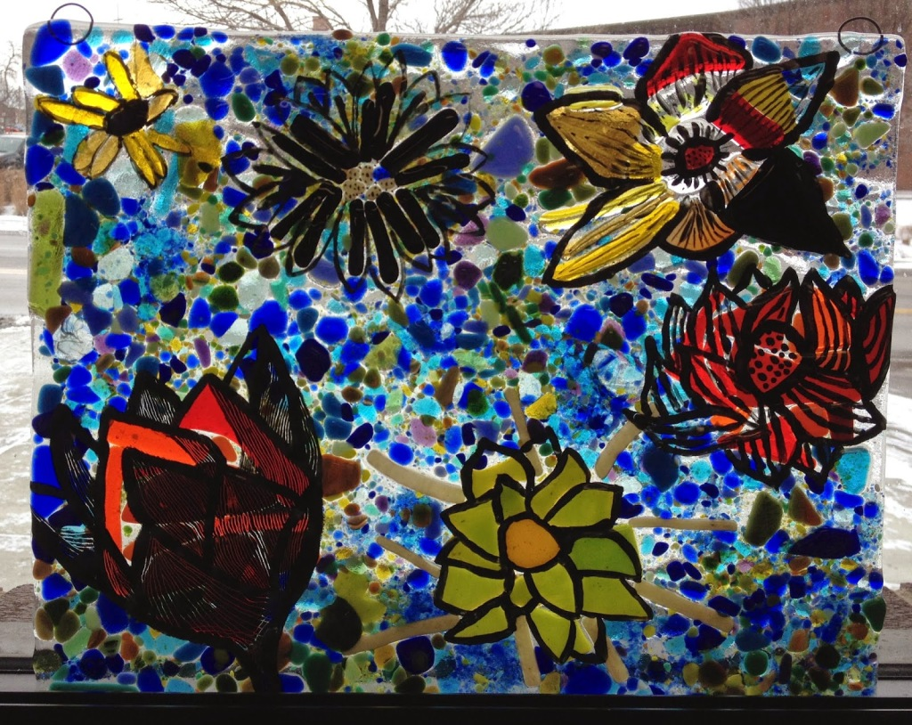 Fused Glass Window in the style of Monet