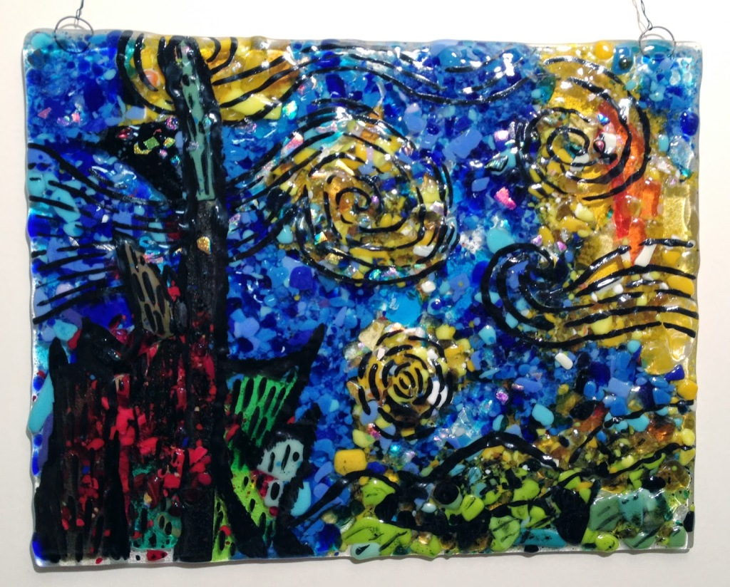 Fused Glass Window in the style of Van Gogh