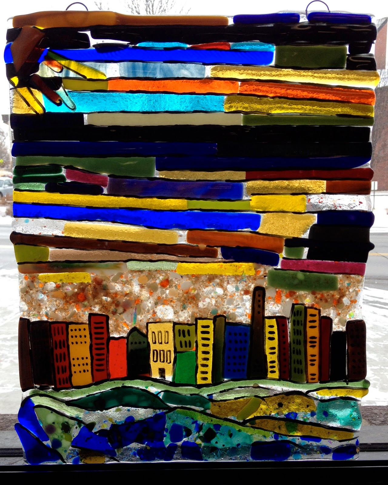 Fused Glass Window in the style of Klee