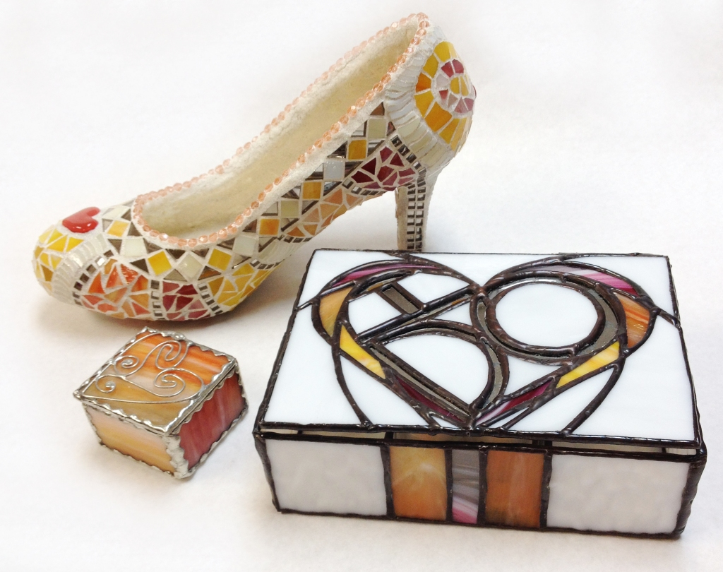 glass slipper and jewelry boxes