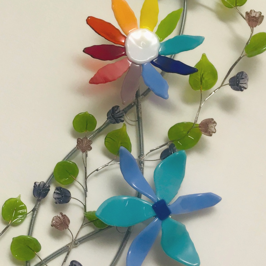 glass flowers and leaves