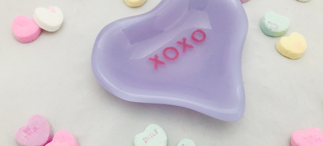 purple candy heart xoxo