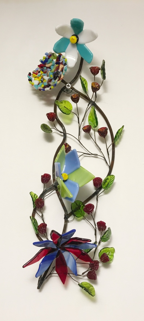 blue red and green glass flowers