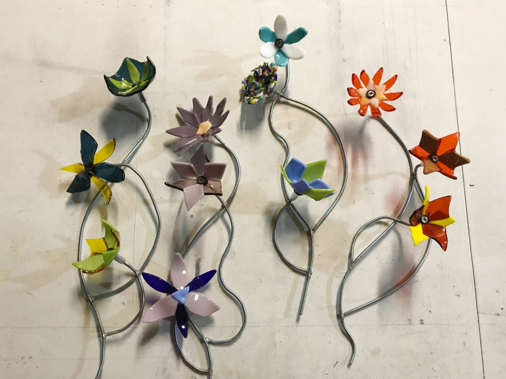 fused glass flowers on metal armature